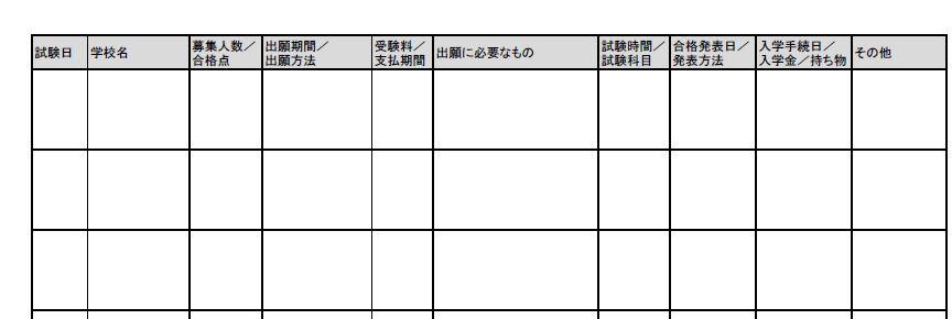 受験校スケジュール